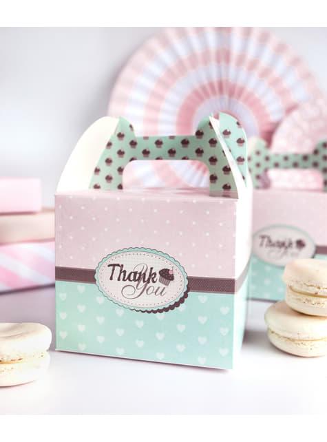 10 boîtes à gâteaux décoratives Thank You roses et bleu
