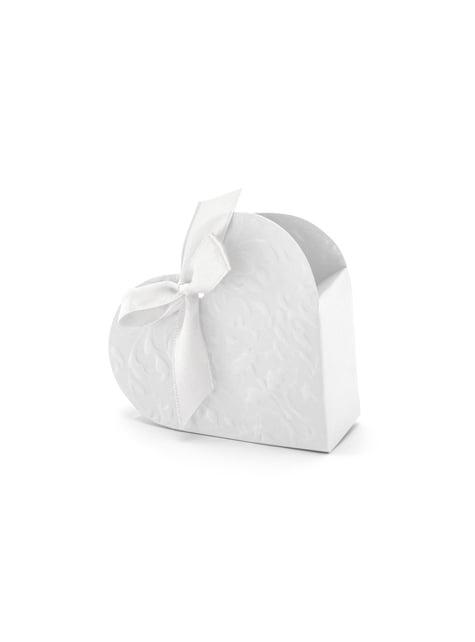 Conjunto de 10 caixas de presente branco com forma de coração