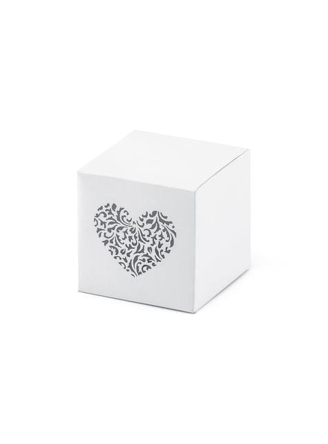 10 cajas de regalo blancas con estampado de corazón