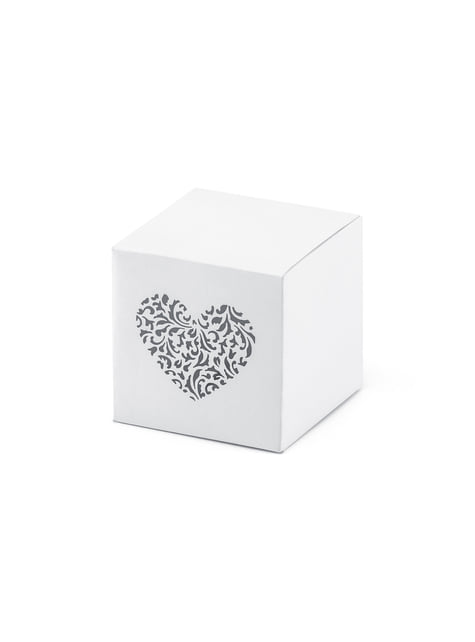 10 White Favor Boxes with Heart Print