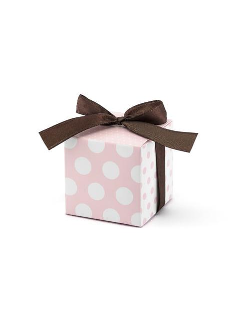10 boîtes cadeaux à pois roses