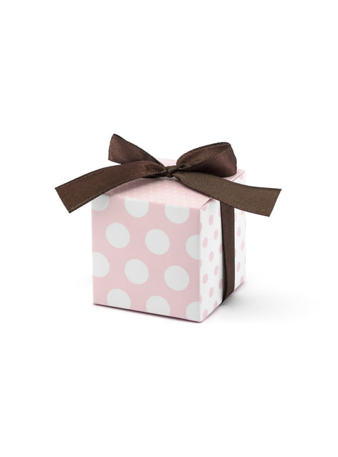 10 Favor Boxes with Pink Dots