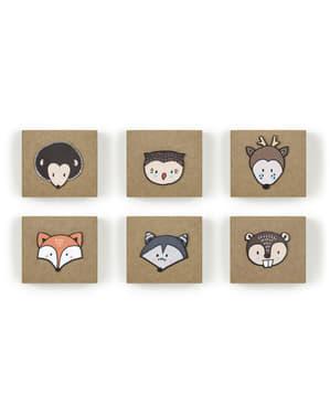 6紙の好意ボックスのセット - ウッドランドコレクション
