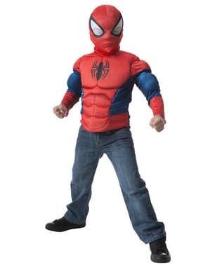 Set maskeraddräkt Spiderman muskulös barn