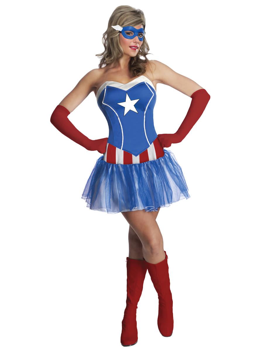 Disfraz de Capitán América Marvel classic para mujer ...