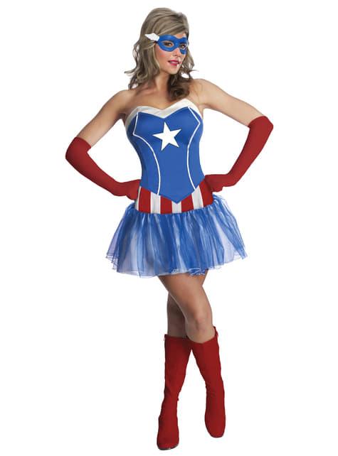Fato de Capitão América Marvel classic para mulher