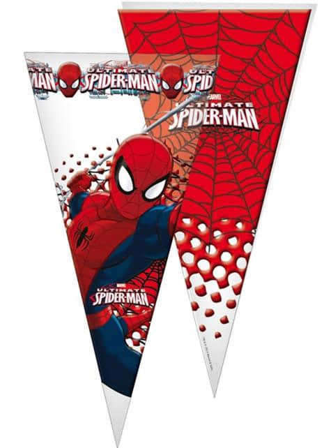 10 kpl pakkaus Spiderman jättikokoiset kartion muotoiset juhlapussit