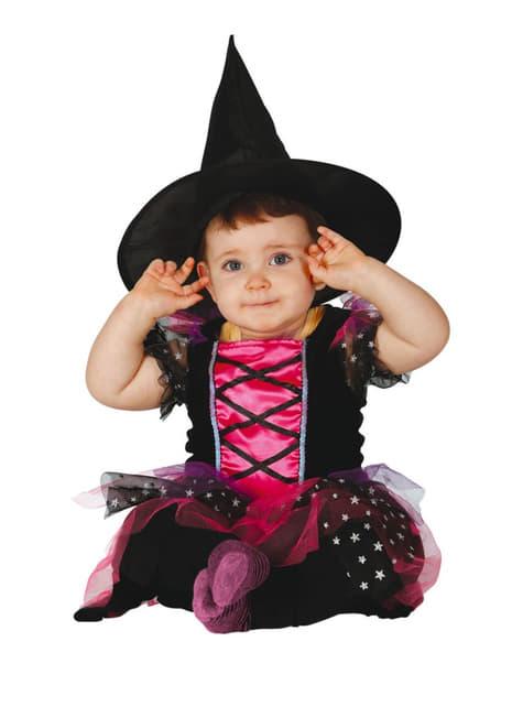 Детский маленький розовый костюм ведьмы