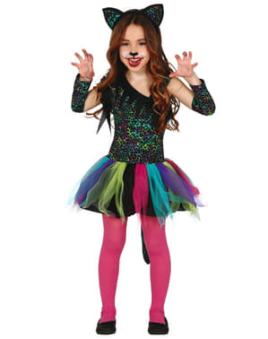 Girls Rainbow Leopard Costume