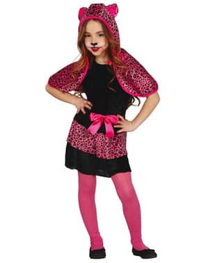 Fato de leopardo cor-de-rosa para menina
