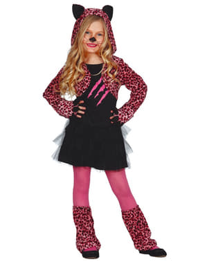Fuchsia luipaard kostuum voor meisjes