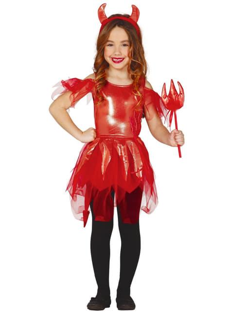 Disfraz de diablita brillante para niña