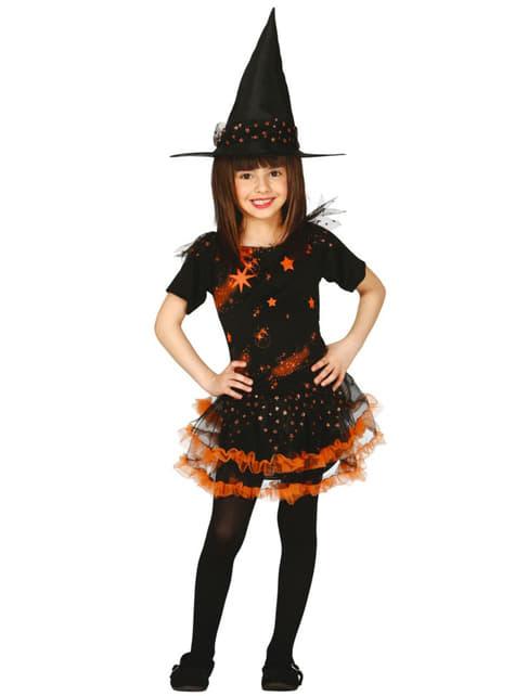 Disfraz de bruja de estrellas para niña