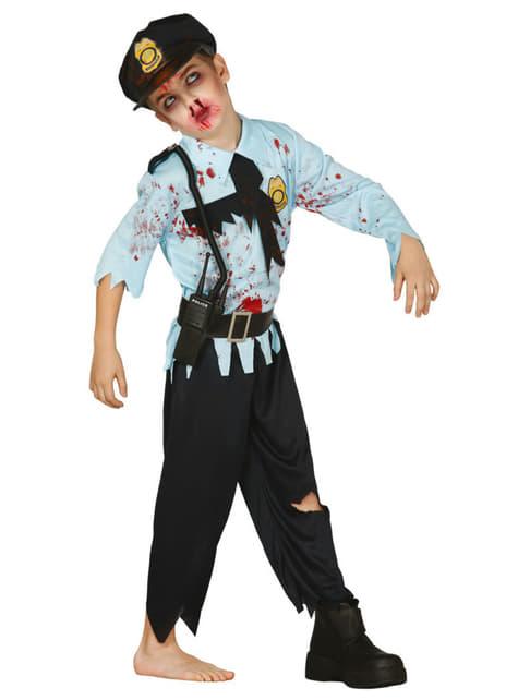 Fato de polícia zombie para menino