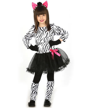 Costum de zebră cochetă pentru fată