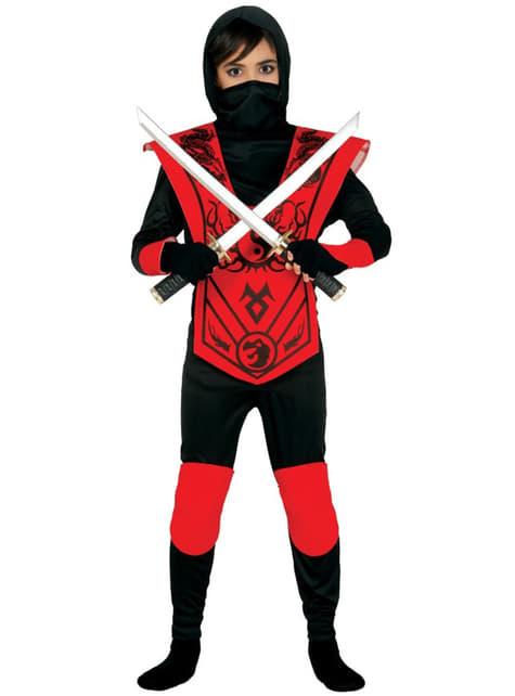 Déguisement ninja rouge mortel enfant
