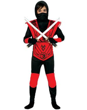 Rødt Ninja kostyme til gutter