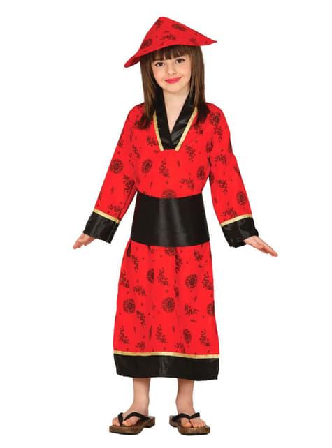 Fato de dama oriental vermelha para menina