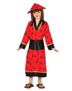 Rødt Orientalsk Dame-Kostyme til Jenter