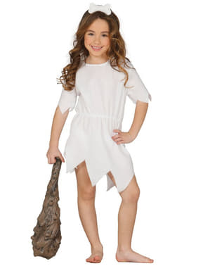 costume da cavernicola bianco per bambima