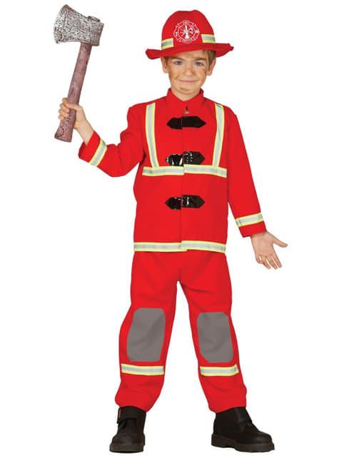 Fato de bombeiro valente para menino
