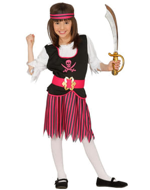 Piratin Kostüm pink für Mädchen