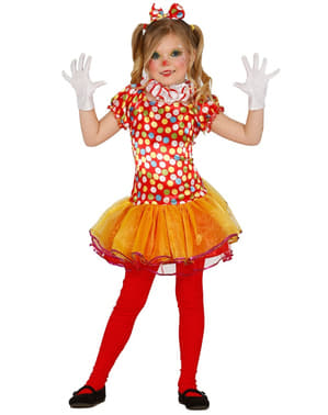 Girls Multicoloured Little Clown Costume
