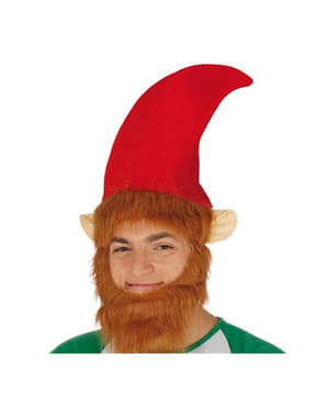 Cappello da elfo con barba da adulto