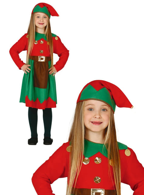 Girls Red Worker Elf Costume