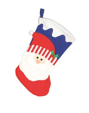 Niebieska skarpeta na prezenty święty Mikołaj 47cm