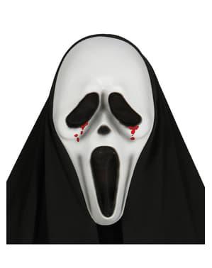 Scream Maske mit Bluttränen und Kapuze