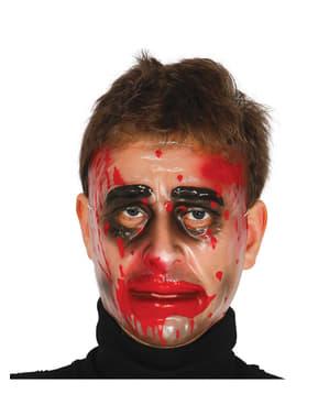 Masque transparent visage en sang homme