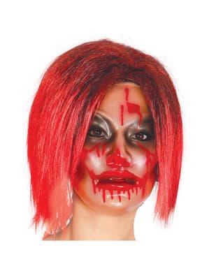 נשים מסכה ילדה מוכתמת בדם שקוף