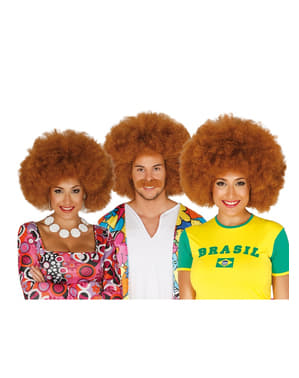 Unisex brown Afro wig