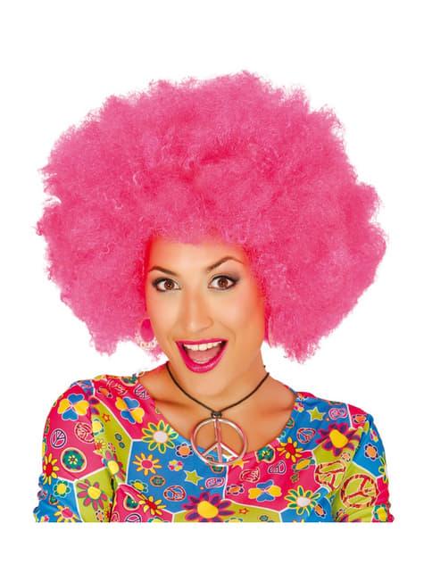 Peluca afro rosa para mujer