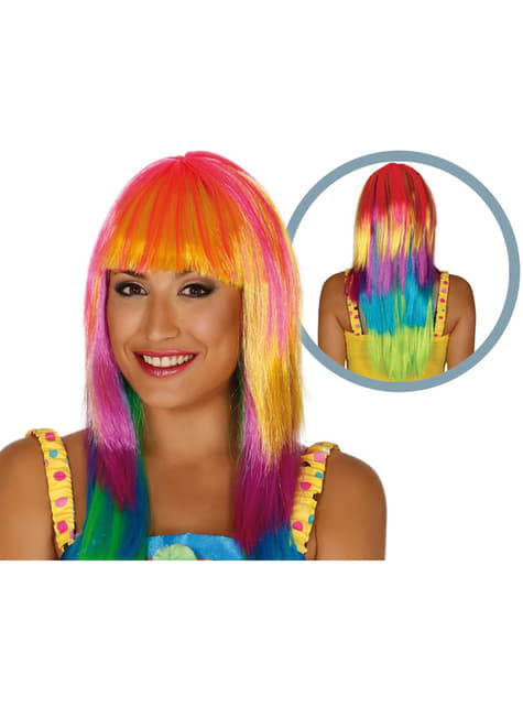 Peluca arcoíris para mujer