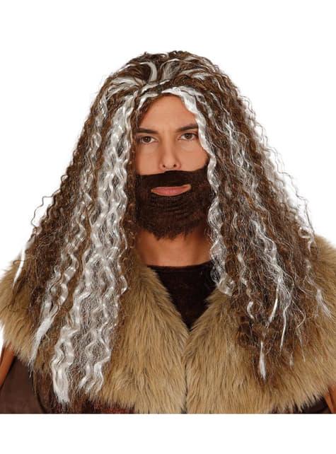 Kit de peluca y barba de hombre de las cavernas para hombre