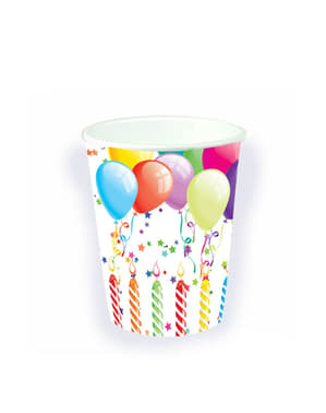 8 copos com balões de aniversário