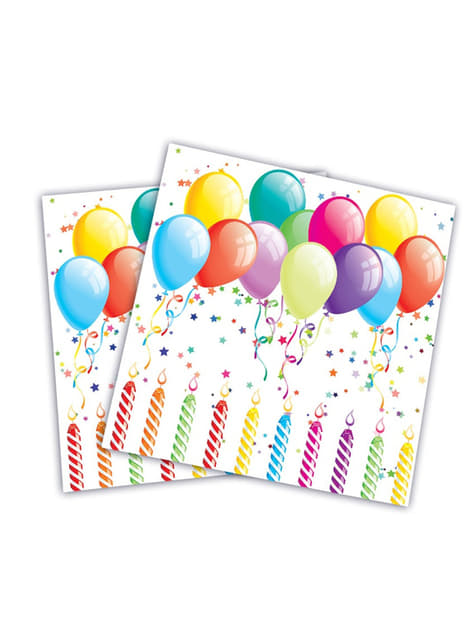 Set de 20 servilletas globos cumpleañeros