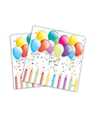 20 guardanapos com balões de aniversário