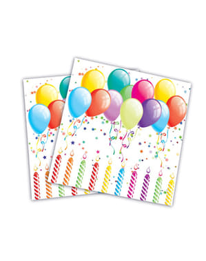 Zestaw 20 serwetek balony urodzinowe