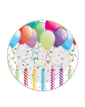 Set 8 große Teller mit Geburtstagsluftballon Motiv