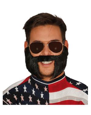 Moustache et pattes rockeur