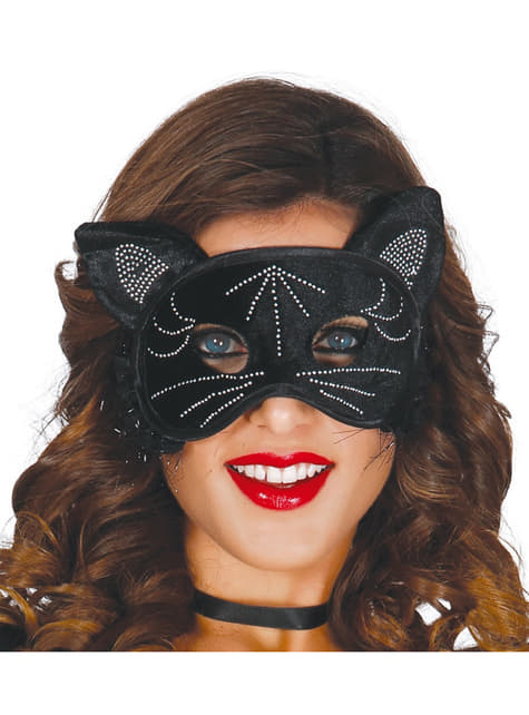 Antifaz de gata preta para mulher