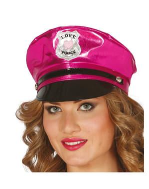 Gorro de policía rosa para mujer