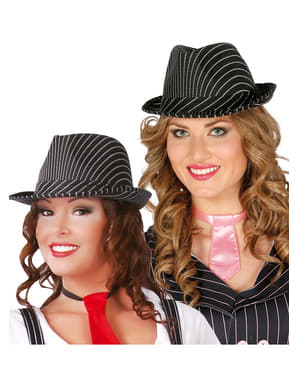 Chapeau gangster rayé femme