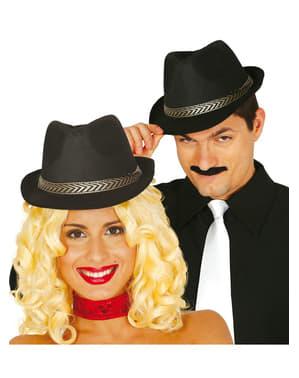Zwarte hoed met band unisex