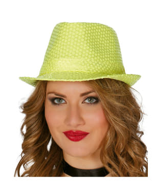 Sombrero de lentejuelas amarillo para mujer