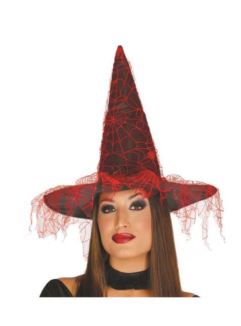 Sombrero de bruja con velo para mujer