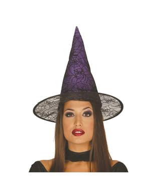 Chapéu de bruxa lilás para mulher